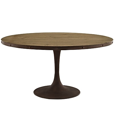 Modway 60''L Wood Top Dining Table, Brown (EEI-2005-BRN-SET)