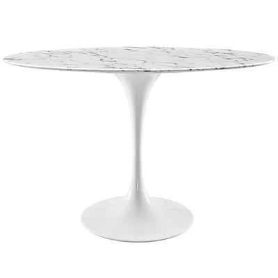 Modway 48''L Artificial Marble Dining Table, White (EEI-2021-WHI)