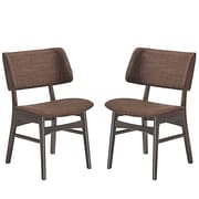 Modway Vestige Linen Dining Side Chair, Walnut/Mocha (EEI-2024-WAL-MOC-SET)