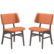 Modway Vestige Linen Dining Side Chair Walnut Orange (EEI-2024-WAL-ORA-SET)