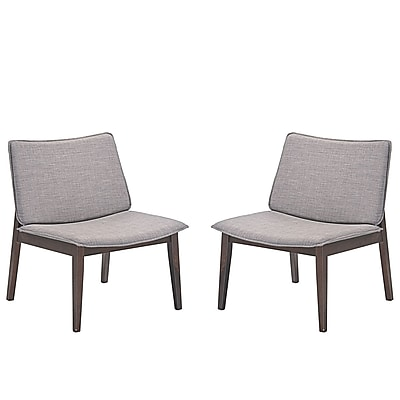 "Modway Evade 24""W Linen-Upholstered Lounge Chairs, Gray, 2/Set (EEI-2025-WAL-GRY-SET)"