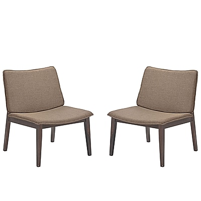 Modway Evade Linen Chairs, Set of Two, Walnut Latte (EEI-2025-WAL-LAT-SET)