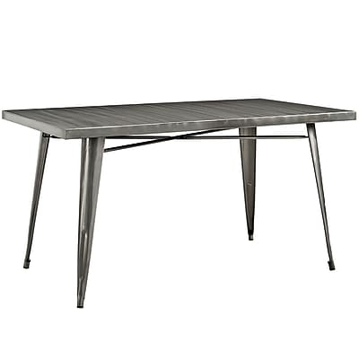 Modway 59.5''L Metal Dining Table, Gunmetal (EEI-2033-GME)