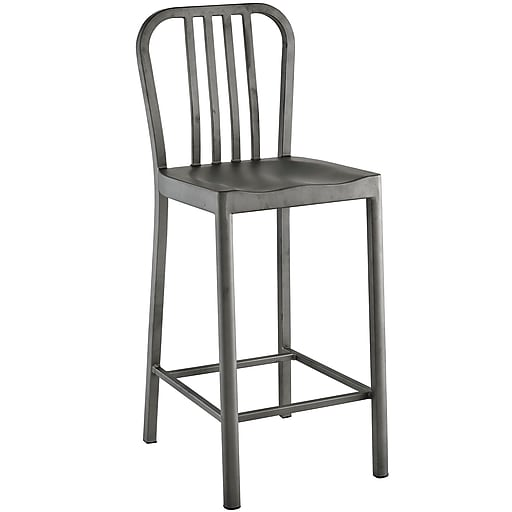 """Modway Chime 19.5""""H Fabric Counter Stool, Silver (EEI-2040-SLV)"""