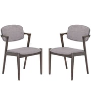 "Modway Spunk 21""W Linen Upholstered Dining Chairs, Gray, 2/Set (EEI-2045-WAL-GRY-SET)"