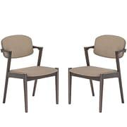 Modway Spunk Linen-Upholstered Dining Armchair, Brown, 2/Set (EEI-2045-WAL-LAT-SET)