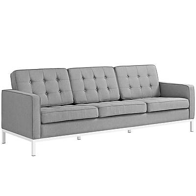 Modway Loft 91.5 Fabric Sofa Gray EEI-2052-LGR