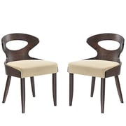 Modway Transit Linen Dining Side Chair, Walnut Beige (EEI-2058-WAL-BEI-SET)