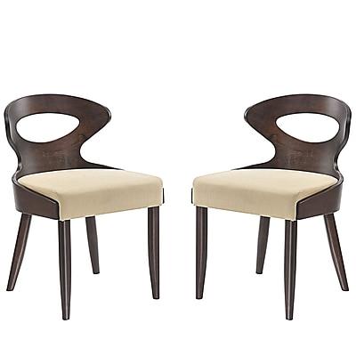 Modway Transit Linen Dining Side Chair, Walnut Beige (EEI-2058-WAL-BEI-SET)