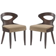 Modway Transit Linen Dining Side Chair, Walnut Latte (EEI-2058-WAL-LAT-SET)