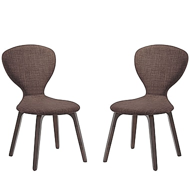 Modway Tempest Linen Dining Side Chair Walnut Brown 1 EEI-2060-WAL-BRN-SET