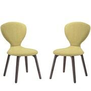 Modway Tempest Linen Dining Side Chair, Walnut/Green (EEI-2060-WAL-GRN-SET)