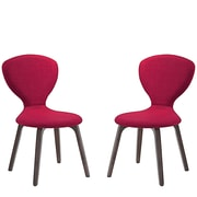 Modway Tempest Linen Dining Side Chair, Walnut/Red (EEI-2060-WAL-RED-SET)