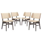 Modway Vestige Linen Dining Side Chair, Walnut/Beige (EEI-2062-WAL-BEI-SET)