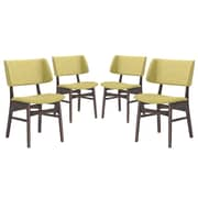 Modway Vestige Linen Dining Side Chair, Walnut/Green (EEI-2062-WAL-GRN-SET)