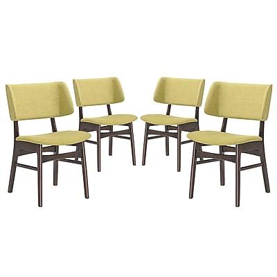 Modway Vestige Linen Dining Side Chair, Walnut/Green (EEI-2062-WAL-GRN-SET)