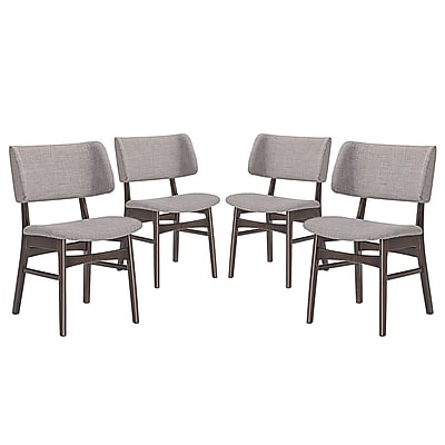 Modway Vestige Linen Dining Side Chair, Walnut Gray (EEI-2062-WAL-GRY-SET)