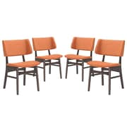 Modway Vestige Linen  Dining Side Chair Walnut Orange 1 EEI-2062-WAL-ORA-SET