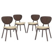 Modway Murmur Linen Dining Side Chair, Walnut/Beige (EEI-2063-WAL-BEI-SET)