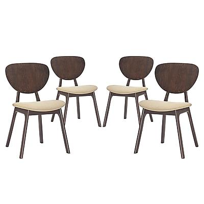 Modway Murmur Linen Dining Side Chair, Walnut/Beige (EEI-2063-WAL-BEI-SET)