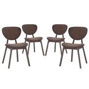 Modway Murmur Linen Dining Side Chair, Walnut Brown (EEI-2063-WAL-BRN-SET)