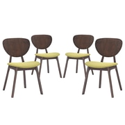 Modway Murmur Linen Dining Side Chair, Walnut/Green (EEI-2063-WAL-GRN-SET)