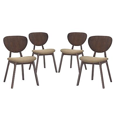 Modway Murmur Linen Dining Side Chair, Walnut Latte (1 EEI-2063-WAL-LAT-SET)