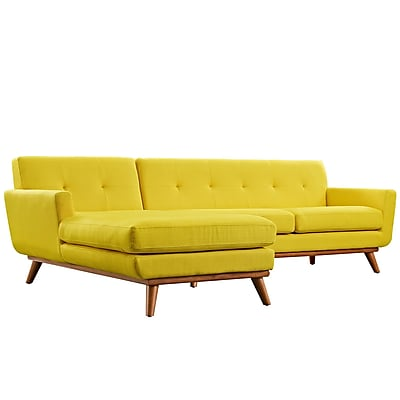 Modway Engage 43 Fabric Sectional Sofa Yellow EEI-2068-SUN-SET