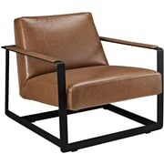 Modway Seg Bonded Leather Reception Chair Brown 1 EEI-2075-BRN