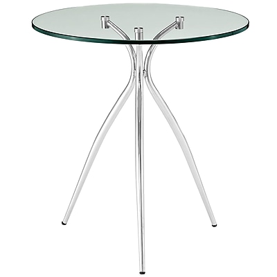 Modway Moxy Steel Side Table, Clear Glass, Each (889654039686)