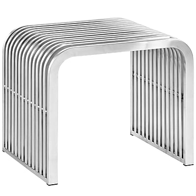 Modway Pipe Stainless Steel Bench, Silver (EEI-2100-SLV)