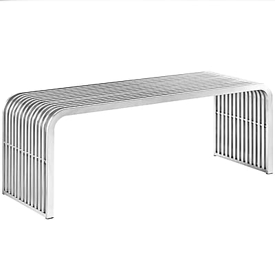 Modway Pipe Stainless Steel Bench Silver (1EEI-2102-SLV