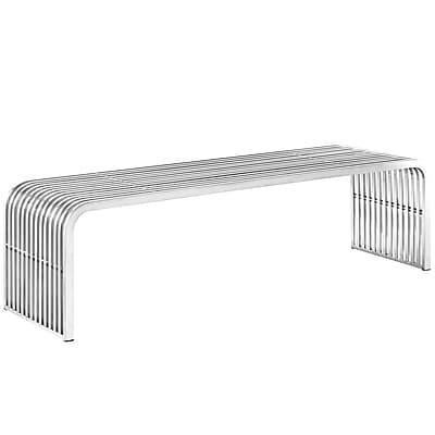 Modway Pipe Stainless Steel Bench, Silver (EEI-2103-SLV)