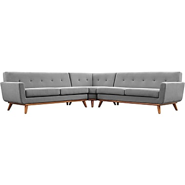 Modway Engage Fabric Sectional Sofa, Gray 3 Pieces/Set (EEI-2108-GRY-SET)