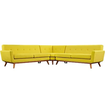 Modway Engage Fabric Sectional Sofa, Yellow, 3 Pieces/Set (EEI-2108-SUN-SET)