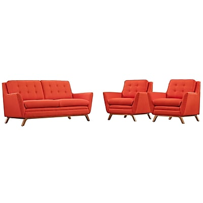 Modway Beguile Fabric Living Room Set; Red, 3-Piece Set (EEI-2141-ATO-SET)