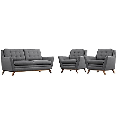 Modway Beguile Fabric Living Room Set, Gray, 3 Pieces (EEI-2141-DOR-SET)