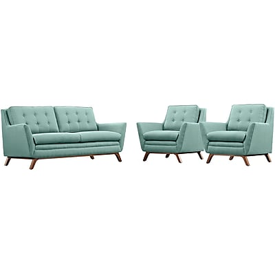 Modway Beguile Fabric Living Room Set, Green, 3 Pieces (EEI-2141-LAG-SET)