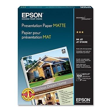 Epson – Papier pour présentation mat B&H # EPPQL100, 100 feuilles, 8,5 po x 11 po
