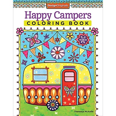 Design Originals Happy Campers Coloring Book, Softcover, Adult Coloring Book