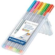 Staedtler Triplus Fineliner Pens, .03mm Point, Assorted Colors, 6/pk (SB6NA6)