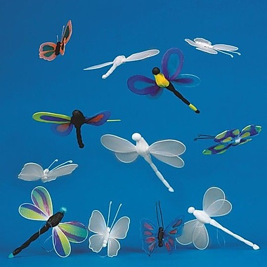 S&S FA3403 Color-Me Multicolor Dragonfly and Butterfly, 36/Pack