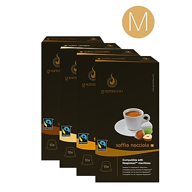 Gourmesso Coffee Flavor Bundle, Medium, 10 Flavored Nespresso®-Compatible Capsules/Box, 18 Assorted Boxes/Bundle (11070)