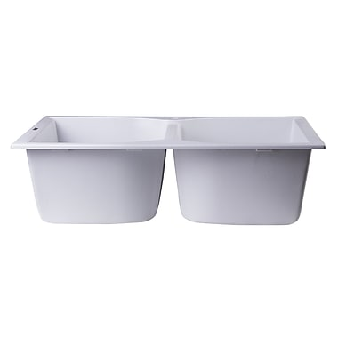 Alfi Brand 31.13'' x 19.75'' Drop-In Double Bowl Kitchen Sink; White