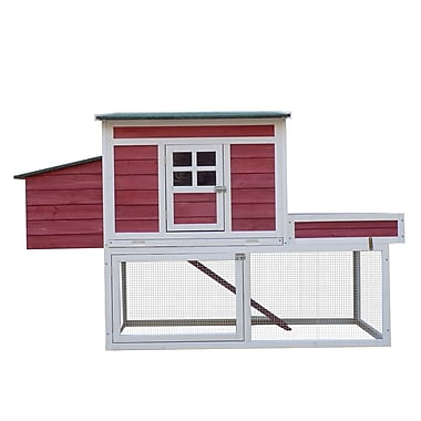 Pawhut Farmhouse Chicken Coop w/ Display Top, Run Area and Nesting Box