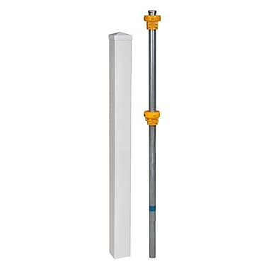 Wam Bam No-Dig Fence Vinyl Finishing Post w/ Cap and Steel Pipe Anchor Kit