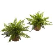 Nearly Natural Ruffle Fern Bush Desktop Plant in Planter (Set of 2)