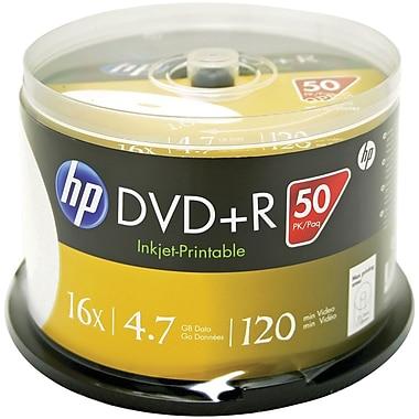 HP 4.7GB DVD+RS, Printable Spindle, 50/Pack (HOODR16WJH050)