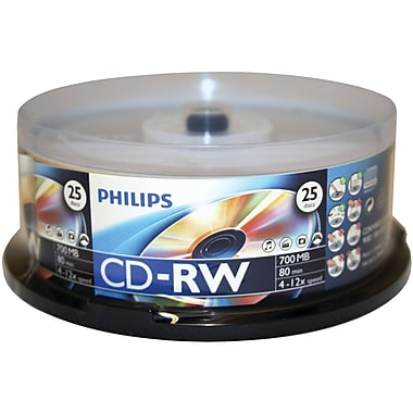 Philips – CD-RW 700 Mo, 25/paquet (HOOCDRW8012)