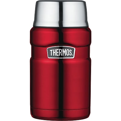 Thermos Stainless Steel Vacuum Insulated Food Jar, Cranberry Red, 24 Oz.